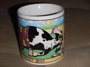 "John Long Cow on Beach Suntan Coffee Tea Mug Cup Roast Beef Long Overdue 4"" Tall"