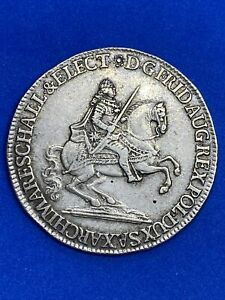 1741 German States Saxony 1/2 Thaler Silver Coin - Free Shipping!