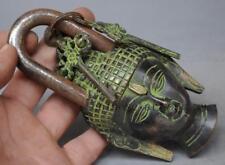Antique Nepal Chinese Old Vintage Big Solid Brass God Budha Pad Lock 2 Keys