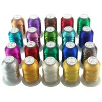 20 Colors Metallic Embroidery Thread for Embroidery and Decorative Sewing