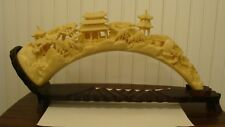 "Unique Ivory Colored Resin/Plastic Chinese Village Horn Shaped With Stand 19"" L"