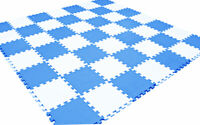 20pc Blue White Kids Playmat Baby Crawling Puzzle Playroom Floor Mat Soft Foam