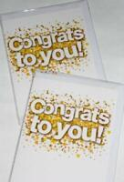 BON BON 'CONFETTI' CONGRATS CARDS x 12-JUST 27p! textured board-wrapped (B309