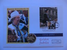 2002 FDC 50 PENCE QUEEN GOLDEN JUBILEE DOMINICA FALKLAND ISLANDS COLOR COIN