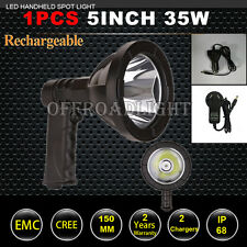 35W 5inch Cree LED Spotlight Handheld Spot Light Hunting Rechargeable Fishing