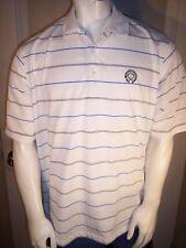 Jack Nicklaus Design Large White Stripe Poly Golf Shirt Memorial Muirfield Logo
