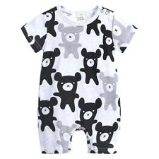 Newborn Toddler Baby Kids Black Gray Bear Cotton Romper Jumpsuit Bodysuit Us