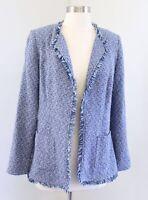 Chicos Blue Multi Fringe Tweed Open Front Blazer Jacket Size 0 Chic Career