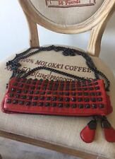 Thomas Wylde Studded Red Clutch Bag Chains Lon Short Strap
