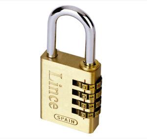 Lince combination padlock, 4 wheel, brass