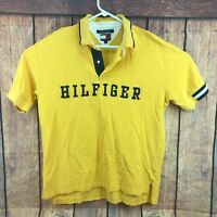TOMMY HILFIGER Men's Short-sleeve Yellow Polo Spell Out Shirt w/ Logo Size Large