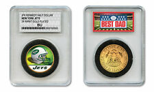 NEW YORK JETS NFL *GREATEST DAD* JFK 24KT Gold Clad Coin SPECIAL LTD. CASE