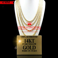 14K AUTHENTIC YELLOW GOLD ITALY MIAMI CUBAN LINK CHAIN NECKLACE 4MM 18~24 INCH