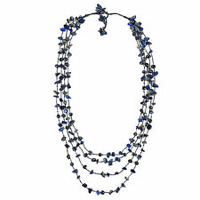 Cotton Rope Pearl and Lapis Stone Layered Necklace