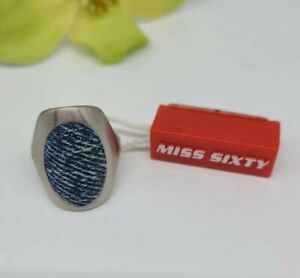 Miss Sixty Brushed Stainless Steel Blue Denim Ring Size 5