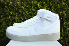 NIKE AIR FORCE 1 07 MID LV8 SZ 15 AF1 WHITE METALLIC SILVER 804609 102