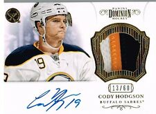 12-13 Dominion 3 COLOR AUTO PATCH xx/60 Made! Cody HODGSON #56 - Sabres