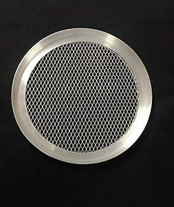 """Commercial  Aluminium Mesh Pizza Pan Baking Tray Thin Crust Crisper 1/2"""" Deep"""
