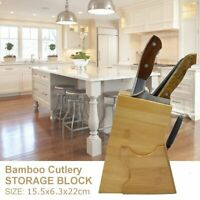 Bamboo Knives Block Holder Cutlery Storage Box Kitchen Scissors Tool Organizer
