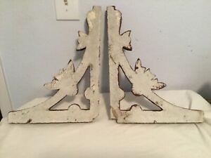 ANTIQUE PAIR Victorians Architectural CORBELS Distressed Chip White Paint LARGE