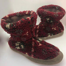 LL Bean Bootie Slippers Socks Womens 9-10 Mens 7.5-8.5 Burgundy Fuzzy Cozy   kk