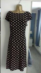 LADIES ANNE KLEIN DRESS SIZE16 STRETCH BLACK & BEIGE SPOT