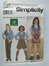 Simplicity Pattern #7777 Girl Scouts Of The Usa Brownie Uniform Size 6,7,8,10