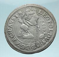 1627 AUSTRIA Archduke Leopold V Genuine Antique SILVER 10 Kreuzer Coin i79003