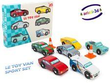 MONTECARLO SPORT CARS SET 6 WOODEN VEHICLE NEW LE TOY VAN VOITURES DE SPORT