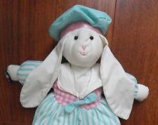 Vtg Applause Reggie Bunny Rabbit Plush Easter Green Stripe Hat Pink Spring