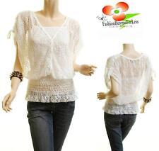 Women Boho White Crochet Eyelet Dolman Peasant Blouse Shirt Top + Free Tank Top