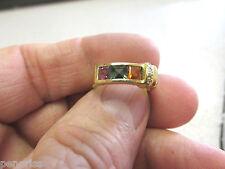 18K  MULTICOLOR TOURMALINE& DIAMOND RING  SIZE 6-1/2  Make Offer