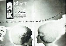 PUBLICITE ADVERTISING 026  1964  L'Oréal  laque Elnette Satin (2p)