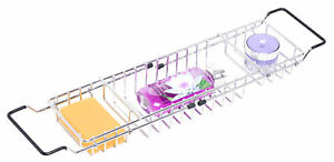 New Basicwise Expandable Metal Bathtub Caddy With, Rubber Handles, QI003491