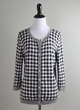 TALBOTS $79 Gingham Check Plaid Print Cardigan Sweater Top Size Medium Petite