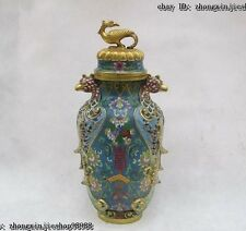 Chinese Royal 100% Pure Bronze cloisonne 24K Gold Phoenix Lucky Fish Pot Vase
