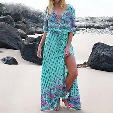 Plus Women Bohe Long Sleeved Dress V Neck Floral Print Beach Party Maxi Dress