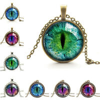 Special Dragon Cat Eye Glass Cabochon Pendant on Bronze Necklace Chain Charming