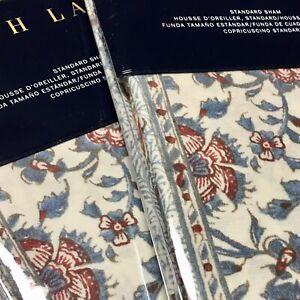 Ralph Lauren PAIR STANDARD SHAMS Belle Pointe Avah Turquoise Bohemian Floral NIP