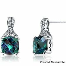 14 Karat White Gold Round Cut 2.00 Carats Created ALEXANDRITE Stud Earrings