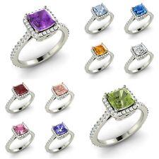 Halo Engagement Ring Cushion Cut AAA Birthstone & G/SI Diamond 14k White Gold