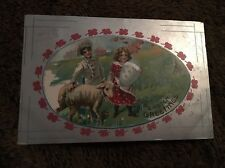Vintage Postcard Posted 1918 Easter Greetings Printed In Germany Girl Boy & Lamb