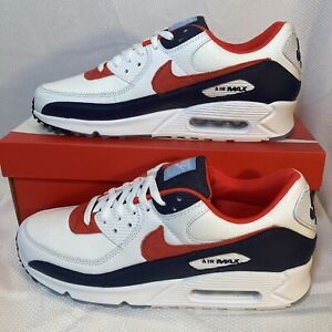Nike Air Max 90 SE 4th OF JULY Pack Shoes DJ5170 White Red Navy Blue Sz 10.5