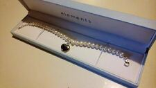 Elements Sterling Silver & Freshwater Pearl Bracelet with Puff Heart Charm*****