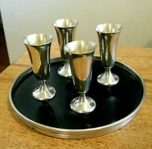 Vintage 1940s Gorham Sterling Silver 951 Shot Cordial Cup with Matching Tray Set