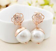 18K Rose Gold GF Filigree Rose Large Pearl Clip Dangle Earrings Inlay Crystal