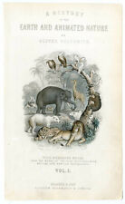 """Titelvignette aus """"Earth and Animated Nature"""", Stahlstich um 1860"""