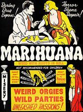L'abuso di droga Marijuana Weed 1930's Vintage Marijuana ANTI DROGA poster stampa in A4
