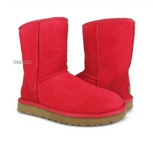 UGG Classic Short II Ribbon Red Suede Fur Boots Womens Size 5 *NIB*