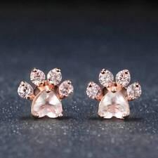 Shiny Pink Stud Earrings Jewelry cat Dog Paw Print Earring Female Piercing
